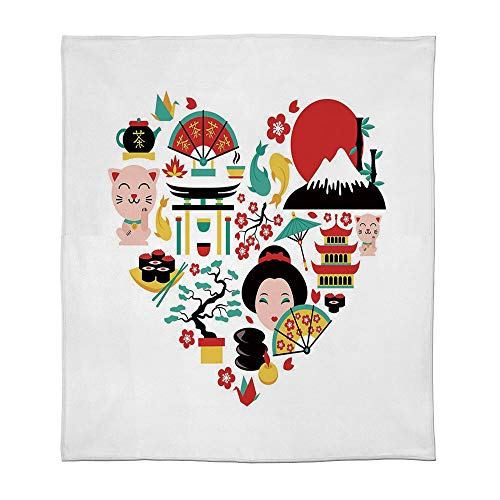 YOLIYANA Super Soft Blanket,Japanese,for Camping Bed Couch,Size Throw/Twin/Queen/King,The Land of The Rising Sun Culture ()