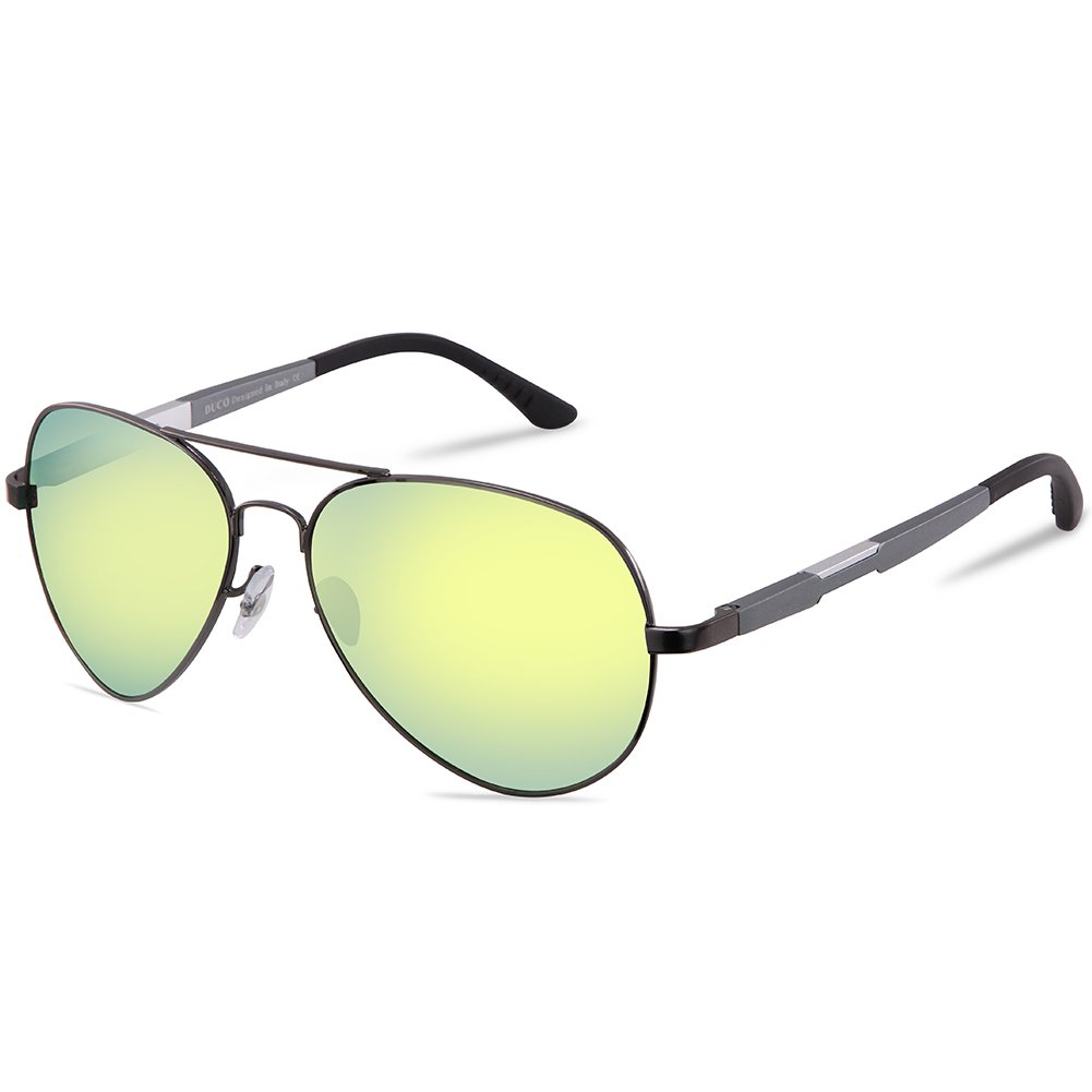 DUCO Premium Polarized Pilot Sunglasses UV400 Gunmetal/Yellow Revo by DUCO