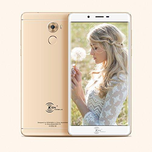 KEN XIN DA V9 Unlocked Dual Sim Smartphone 6.0 inch Display 8Mp+13MP Camera, 3500mAh battery 16+2GB Memory Andoid 6.0 MTK6753 Platform Chinese Rugged Smartphone (Gold)