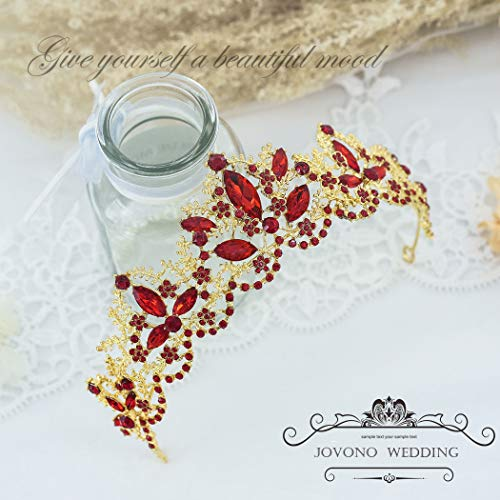 Jovono Wedding Crowns and Tiaras for Bridal Gold Tiara with Red Rhinestone Crown for Women]()