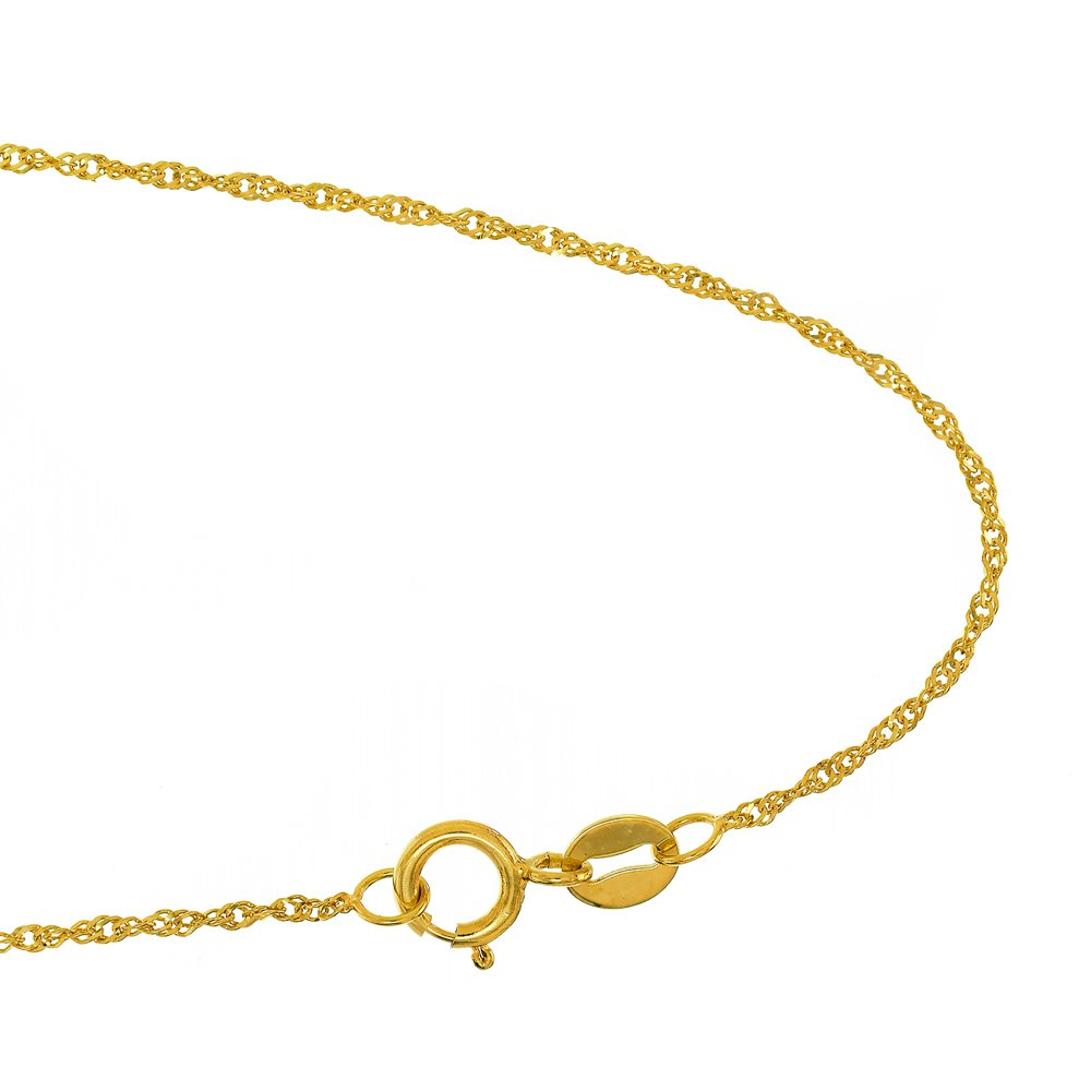 JewelStop 10k Solid Yellow Gold 1.5mm Singapore Extendable & Adjustable Anklet, Spring Ring Clasp- 9''-10''