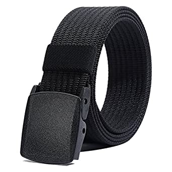 "Nylon Belt for Men, Military Tactical Belt with YKK Plastic Buckle, Durable Breathable Waist Belt for Work Outdoor Cycling Hiking Skiing,Adjustable for Pants Size Below 46inches[53""Long1.5""Wide] (Black)"
