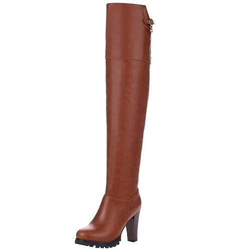8db9f994224 Artfaerie Womens Over The Knee Boots Block High Heel Wide Calf Jodhpur Boots  with Zip Stretch