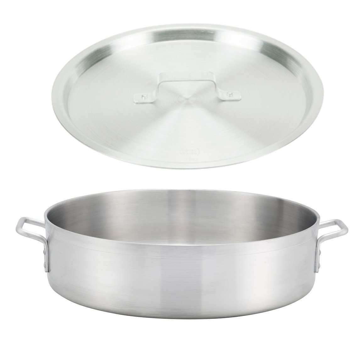 """Winco ALBH-40, 40-Quart 22.8"""" x 6"""" Precision Extra-Heavy Aluminum Brazier Pan with Cover, Heavy-Duty Commercial Grade Braiser Pan with Lid, NSF"""