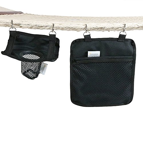 Sunnydaze Hanging Drink Holder and Tablet Device Holder, Outdoor Rope Hammock Accessory