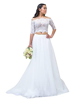 c9c471e32260 flowerry Women Wedding Dress Two Piece Lace Off Shoulder Top Long Maxi Tutu  Skirt Short Train