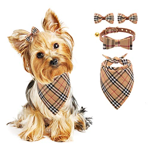 PUPTECK Bow Tie Dog Collar with Bell, Classic Plaid Bandana, Triangle Bibs Scarf Accessories, 2 Pack Pet Hair Bows, for Puppy Cats - Cream