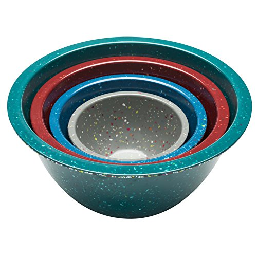 Zak Designs 2281-7005 Confetti Mixing Bowl Sets, 4-Piece, Peacock, Brick & Slate