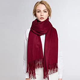 Camel Water Ripple Cashmere Shawl Scarf Dual Thick Winter Female High-End Fashion Winter Collar,Wine red,200cm Long