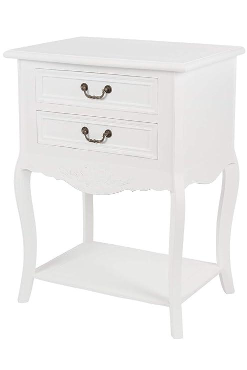 Nachttisch Schmal Weiß.Elbmöbel Nachttisch Beistelltisch Weiß Antik Shabby Chic Schmal Massiv Mit 2 Schublade B 55 X H 73 X T 40 Cm