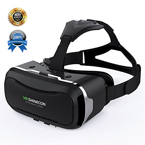 VR SHINECON Direct 3D VR Glasses-VR Headset for Playing Your Best Mobile 3D Games and 360 Videos-Virtual Reality Headset with Prepositive Radiator for iPhone, Samsung and other smartphones(Black)