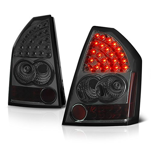 VIPMOTOZ Black Bezel Premium LED Tail Light Housing Lamp Assembly For 2005-2007 Chrysler 300 Driver and Passenger Side Replacement ()