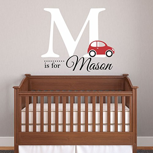 Nursery Boys Name and Initial Car Personalized Name Wall Decal 28\\\
