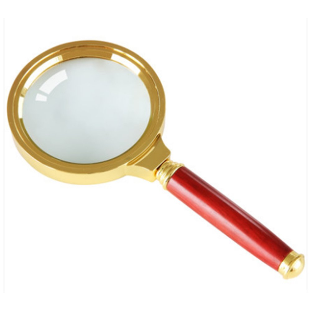 Home Mart Antique Mahogany Handle Magnifier Metal Reading Magnifying Glass 60mm Lens Jewelry Loupe by Home Mart (Image #1)