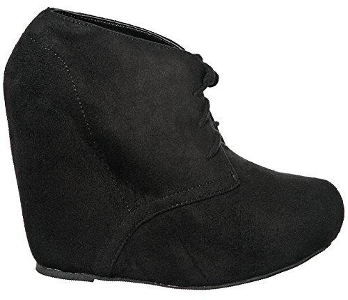 Bootie Women's Lace NEW Blackimsu up Comfort Fashion STYLES Wedge Platform 4qqSw58