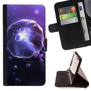 For Sony Xperia M5 E5603 E5606 E5653 Case , Amoba medusas bajo el agua- la tarjeta de Crédito Slots PU Funda de cuero Monedero caso cubierta de piel