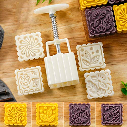 Fullive 75G Mooncake Mold - Square Hand Press Mooncake Mold DIY Baking Mold,Soap Mold,Bath Mold with 4 Random Stamps for Mother ()