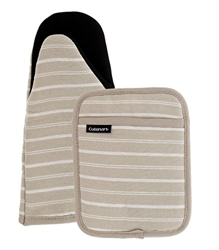 (Cuisinart Puppet Oven Mitt & Potholder with Pocket Set w/Neoprene for Easy Gripping, Heat Resistant up to 500 Degrees F, Twill Stripe- Tan)