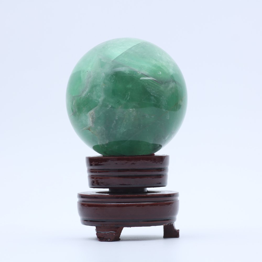 ruhong Natural Quartz Handmade Art 75mm Healing Crystal Green Aventurine Ball Stone Craft Christmas Home Decoration Gift Collection Fengshui Sphere with Free Stand