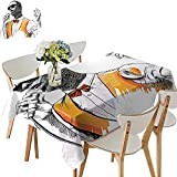 UHOO2018 Square/Rectangle Polyester Tablecloths African American Jazz Singer Performing Music Artisan Modern Graphic Black Merigold Fuitable for Home use,52 x 108inch