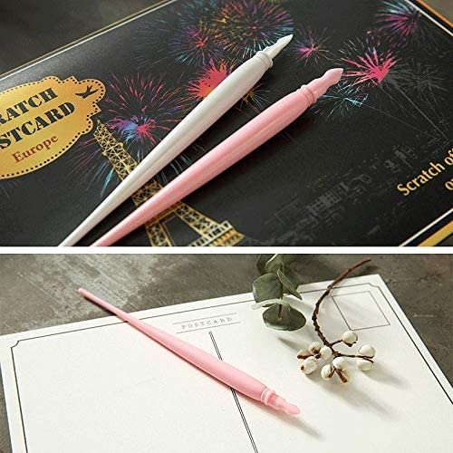 Scratch Color Pen//Scratch Paper Stick Stylus Tools for Kids Art Paper Painting//Coloring Stylus Scratch Paper Art Tool 10 Pieces Pink/&White