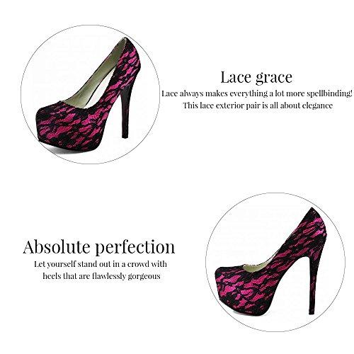 Trend Star Women Pumps Womens High Heels Platform Lace Party Pfennig new pumps Ivory
