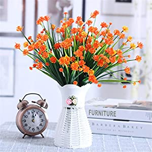 Louiesya Daffodils Artificial Flowers Fake Plants Outdoor UV Resistant Greenery Shrubs Bush Indoor Outside Home Garden Décor Plastic Flower Hanging Planter 4 Pcs 17