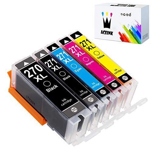 (AceInk 5 Packs Compatible PGI-270XL CLI-271XL Ink Cartridges High Yield with Latest Chips Works for Canon PIXMA TS6020 9020 5020 8020 MG7720 6821 5720 6820 5722 6800 5700 6822 5721 Printers)