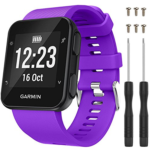 QGHXO Band for Garmin Forerunner 35, Soft Silicone Replacement Watch Band Strap for Garmin Forerunner 35 Smart Watch, Fit 5.11 inches-9.05 inches (130mm-230mm) Wrist
