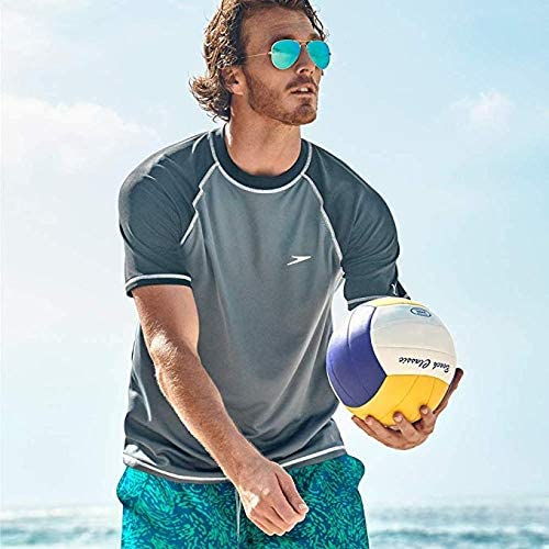Ziaoor Men Easy Short Sleeve Swim Tee,Guard Swim Shirt with Uv Protection for Sports wear Matching Speedo Style