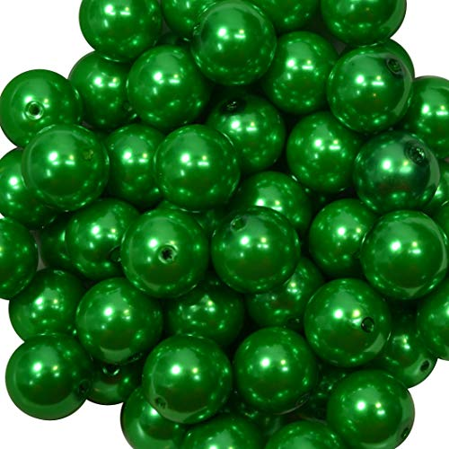 20mm Bulk package 50 Christmas Green Faux Pearl Solid Acrylic Chunky Bubblegum Beads Loose Gumball Beads Lot - Green Faux Pearl