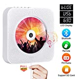 Portable CD Player with Bluetooth, Qoosea Wall Mountable CD Discman Music Player Home Audio Boombox with Remote Control FM Radio Built-in HiFi Speakers LCD Display MP3 Headphone Jack AUX Input Output