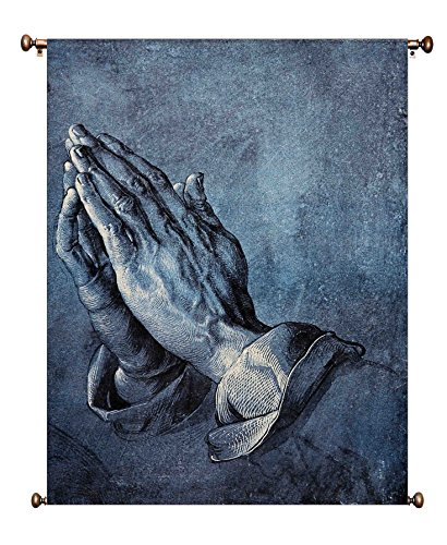 Praying Hands Picture on Canvas Hung on Copper Rod, Ready to Hang, Wall Art Décor by ArtWorks Decor