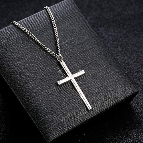 56 61cm BESTEEL Argent Sterling 925 Collier Croix pour Hommes Femmes Cha/îne de Gourmette Collier avec Pendentif Croix avec Bo/îte /à Cadeau