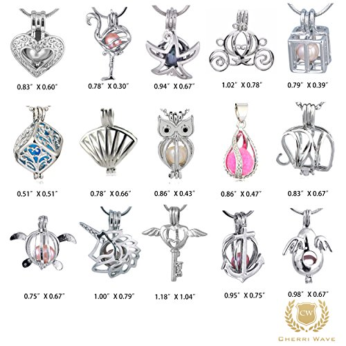 Cherri Wave 10 Pieces Silver Plated Pearl Bead Cages Pendants for Jewelry Making/Essential Oil Scent Diffuser Locket (Companion Necklace)
