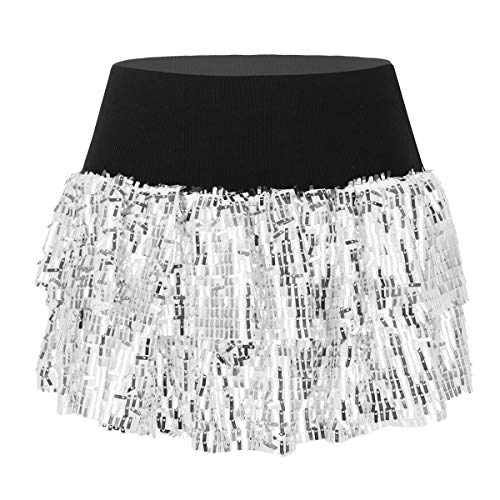 CHICTRY Women's Running Costume Shiny Sequins 2 Layer Tutu Skirt with Boxer Shorts Silver OneSize -