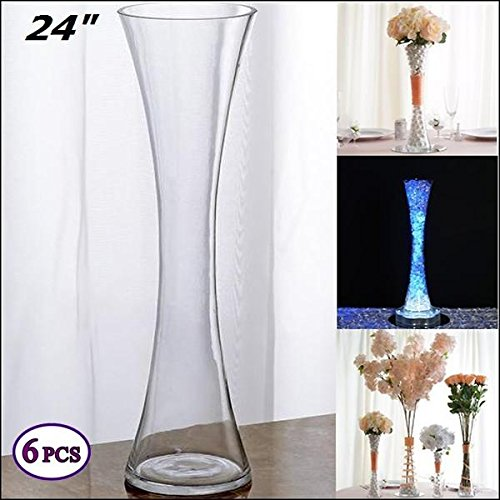 Efavormart 24'' Tall Clear Hourglass Shaped Floral Vase Wedding Party Decoration - 6 PCS by Efavormart