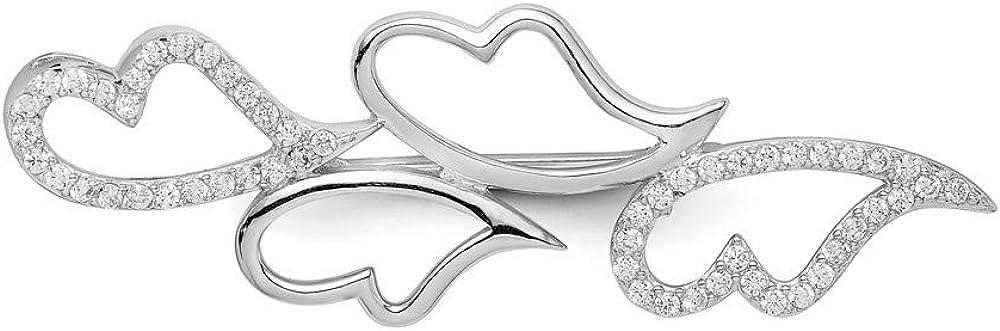 Jewel Tie Sterling Silver CZ Cubic Zirconia Hearts Pin 58mm x 20mm