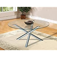 Home Source Chrome Coffee Table with Glass Top, 36 x 36 x 20