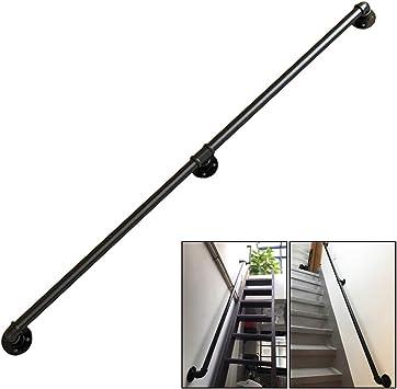 LNDDP Pasamanos Escalera Hierro Forjado Metal Negro - Pasamanos para niños Mayores discapacitados en escaleras Interiores al Aire Libre Pasos Montaje Externo en la Pared Exterior (1 pie ~ 10 pies): Amazon.es: