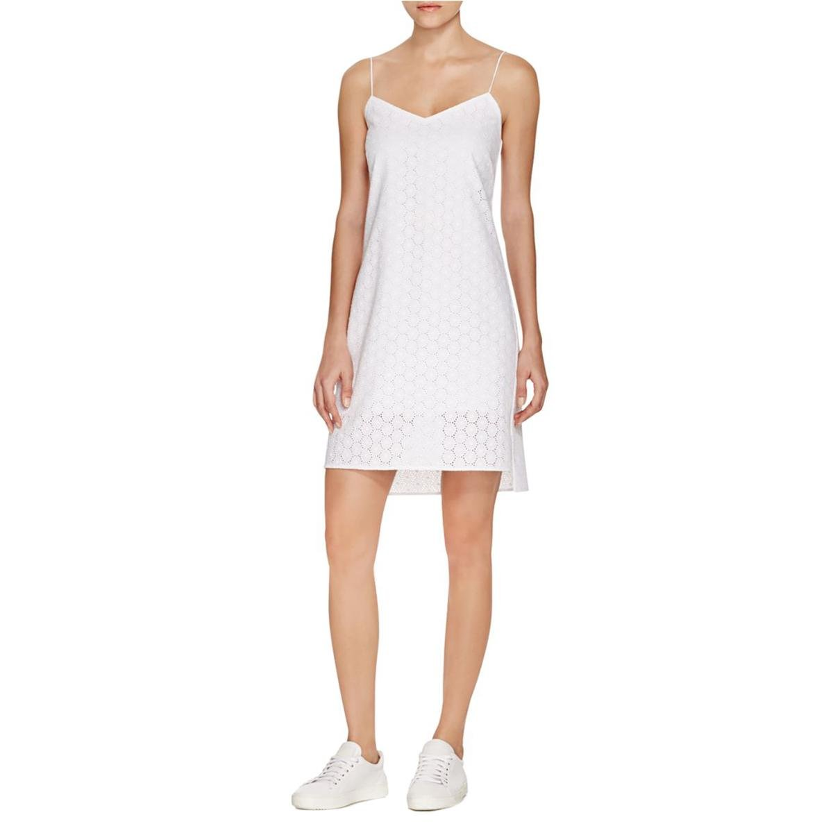 dd6091f2011fc Rag & Bone Jeans Womens Eyelet Hi-Low Sundress White 6 at Amazon Women's  Clothing store: