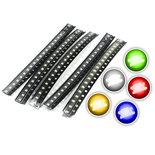 Chanzon (5 Colors x 20 pcs = 100 pcs) 0603 SMD LED Diode Lights Assorted Kit (Mini Chip 1.6mm x 0.8mm for PCB DC 20mA) Super Bright Lighting Bulb Lamps Electronics Components Light Emitting Diodes ()