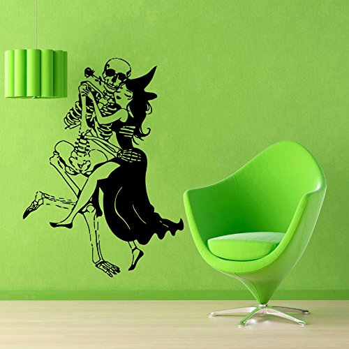 (YINGKAI Halloween Wall Decals Woman Witch With Broom Dance With Skeleton Living Room Vinyl Carving Wall Decal Sticker for Halloween Party Home Window)