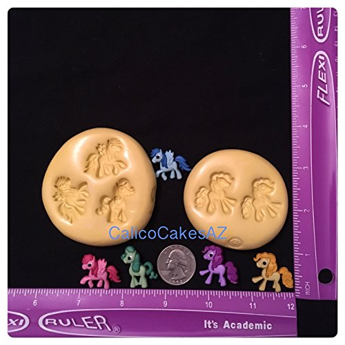 (My Little Pony Like Fondant Mold Set Chocolate Candy Gumpaste Soap Resin Clay)