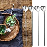 Quaanti 6 Pcs Stainless Steel Metal Drinking Straw Reusable Straws Cocktail Spoons Set Eco-Friendly Spoons Straws Filtered Party Supply (Silver)