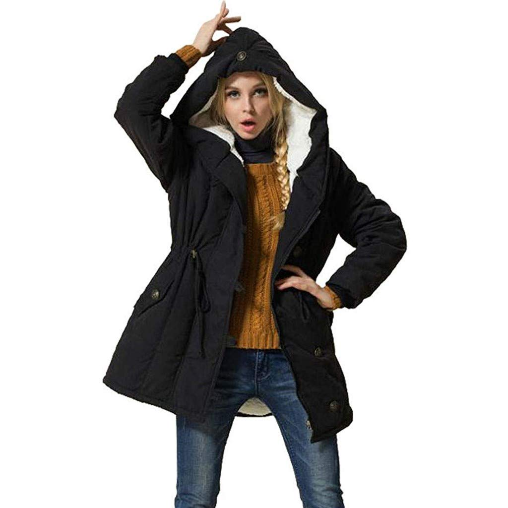 Acilnxm Womens Casual Solid Coats Hooded Lambswool Outwear Jackets with Pockets Black by Acilnxm