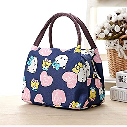 Image Unavailable. Image not available for. Color  Girl Cartoon Hello Kitty  Lunch Bag Portable Insulated Cooler Bags Thermal Food Picnic ... 9640ddf8b2b3b