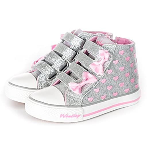 Weestep Toddler/Little Kid Girls Glitter Bow Sneakers