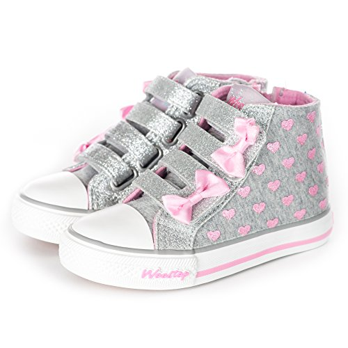 Weestep Toddler/Little Kid Girls Glitter Bow Sneakers (13 M US Little Kid, Pink/Gray)