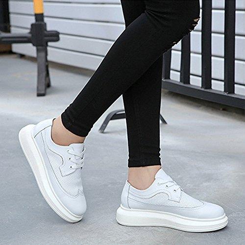Sneaker Platform Breathable Women's Original Fashion White Tie Leather 4AgWYWxnq